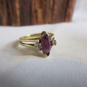 10K Yellow Gold Amethyst Diamond Ring